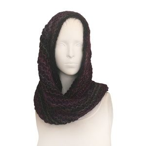 Steve Madden Knit with Metallic Cowl Scarf: Purple